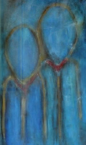 De wandelaars op Sia Braakmans schilderij Avondwandeling hebben geen gezicht; dat kun je zelf invullen….