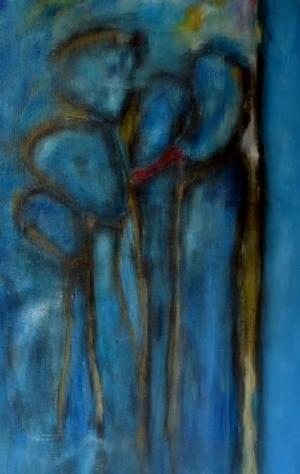 Het spel van licht en schaduw in Sia Braakmans schilderij Avondwandeling zorgt ervoor dat je de contouren van de mensen in het groepje niet duidelijk waarneemt.