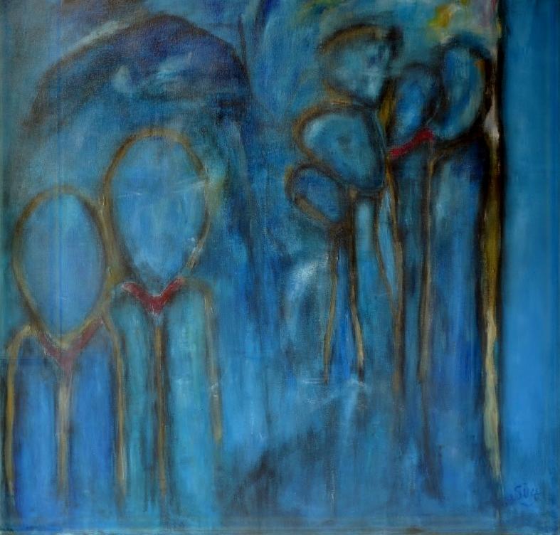 Mijn schilderij Avondwandeling (acryl en krijt op doek, 80 x 80 cm) is gebaseerd op iets wat ik zelf heb meegemaakt.