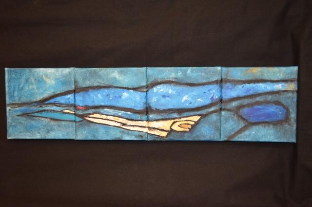 Het vierluik SeaLand I. (Acryl en krijt op doek, 20 x 20 cm per stuk.) Ik moest als het ware eerst naar dit eiland om bij het eiland van het grotere doek (SeaLand) te kunnen komen.