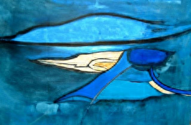 SeaLand. (Acryl en krijt op doek, 80 x 100 cm.) Zo'n plekje om even helemaal tot rust te komen zou ieder mens eigenlijk moeten hebben…